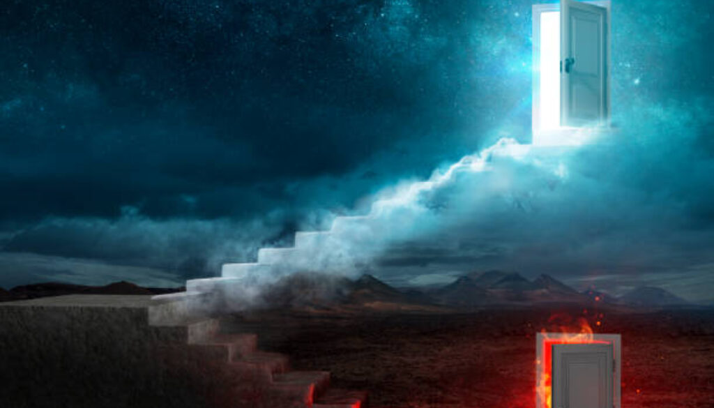 Stairs For Heaven And Hell - Religious Choice - Contain 3d Rendering